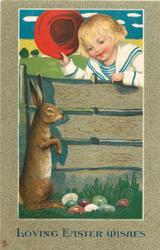 LOVING EASTER WISHES  boy tipping his hat to EASTER bunny