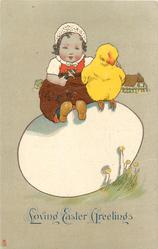 LOVING EASTER GREETINGS (in red or blue) girl & chick sit on enormous egg