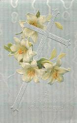 A JOYFUL EASTERTIDE  silver cross leaning right, Easter lily