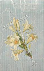 ALL EASTER JOY BE YOURS  silver cross leaning left, Easter lily