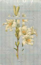 GLAD EASTER GREETINGS  silver cross upright, Easter lily