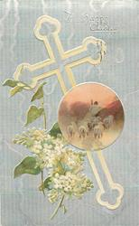 A HAPPY EASTER  silver cross & background, white lilac, sheep insert