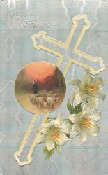 EASTER GREETINGS  silver cross & background, EASTER lily, sheep insert