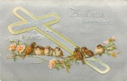A HAPPY EASTERTIDE  silver cross outlined in yellow & silver background, sparrows