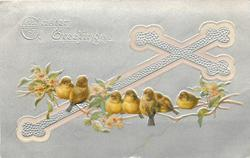 EASTER GREETINGS  silver cross outlined in pink & silver background, sparrows