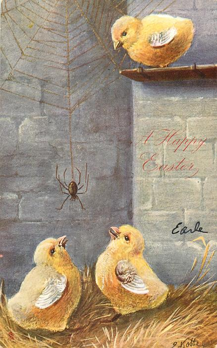 A HAPPY EASTER  spider on web between two chicks, another looks down from shelf