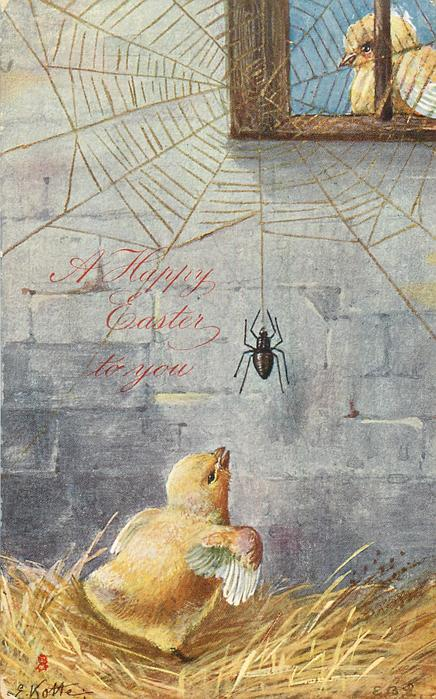 A HAPPY EASTER TO YOU  spider descends from web observed by chick, another looks through window