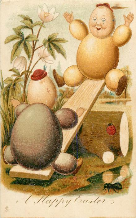 A HAPPY EASTER  egg-couple on see-saw