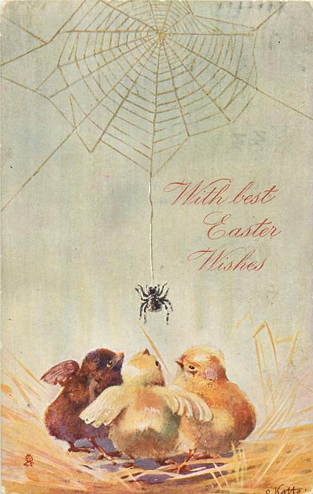 WITH BEST EASTER WISHES  spider on web towards three chicks