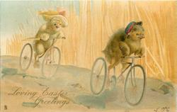 LOVING EASTER GREETINGS  two chick cyclists race right