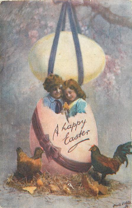 A HAPPY EASTER  boy & girl in huge pink egg, another above, hens below