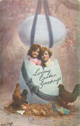 LOVING EASTER GREETINGS  boy & girl in huge blue egg, another above, hens below