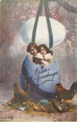EASTER GREETINGS  boy & girl in huge purple egg, another above, hens below