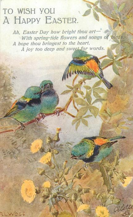 TO WISH YOU A  HAPPY EASTER  four multicoloured finches, thistles