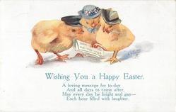 WISHING YOU A HAPPY EASTER  three chicks in hats,  newspaper