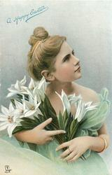 A HAPPY EASTER  girl holds armsful of Easter lilies, bracelet on left arm