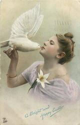 A BRIGHT AND HAPPY EASTER  girl holds white dove, she kiss its beak