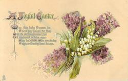 A JOYFUL EASTER  cross tilted right, lily-of-the-valley & violet