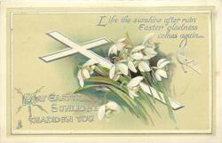 MAY EASTER SUNLIGHT GLADDEN YOU  white cross, snowdrops