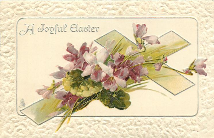 A JOYFUL EASTER  cross tilted right, violets