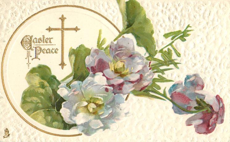 EASTER PEACE  gilt cross, purple & white double violets