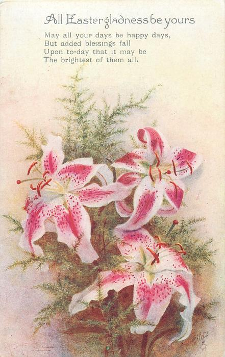 ALL EASTER GLADNESS BE YOURS  three stargazer lilies