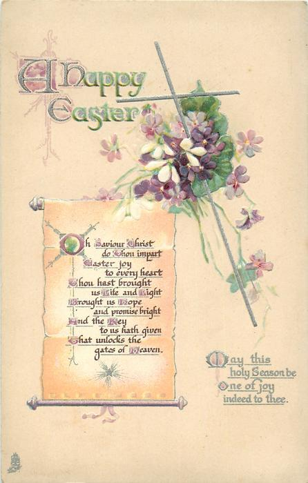 A HAPPY EASTER  silver cross, violets