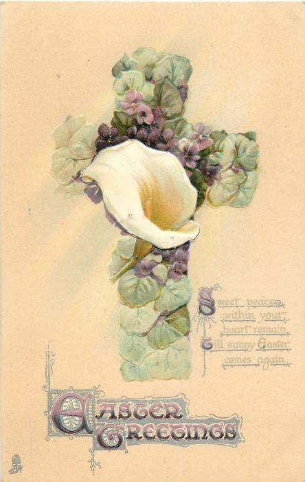 EASTER GREETINGS  floral cross, calla lily