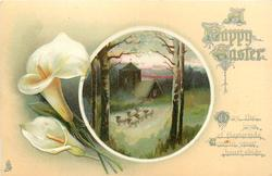 A HAPPY EASTER  rural insert, calla lilies