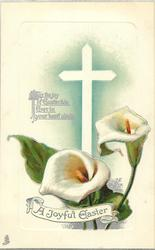 A JOYFUL EASTER in banner, two calla lilies