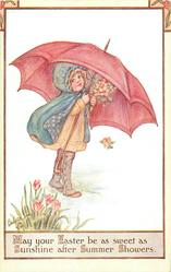 MAY YOUR EASTER BE AS SWEET AS SUNSHINE AFTER SUMMER SHOWERS  girl, umbrella