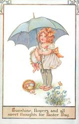 SUNSHINE, FLOWERS AND ALL SWEET THOUGHTS FOR EASTER DAY  girl, parasol