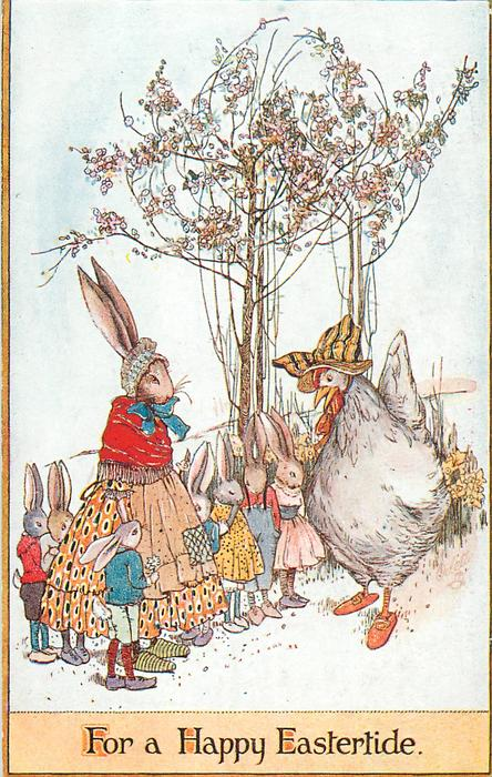 FOR A HAPPY EASTERTIDE  mother rabbit with seven children talks to hen