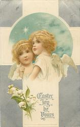 EASTER JOY BE YOURS  two young angels, lily-of-the-valley