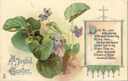 A JOYFUL EASTER  violets left of scroll with cross on top and tassels bottom