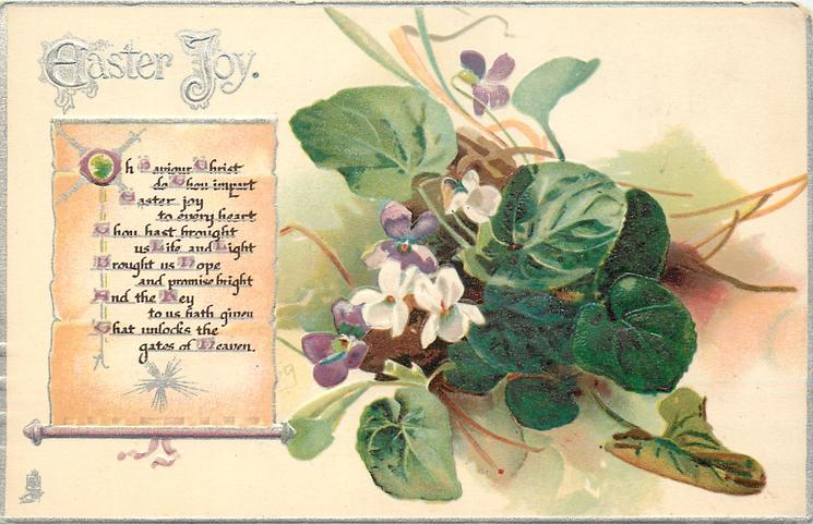EASTER JOY violets right of plain scroll