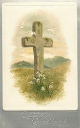 EASTER GREETINGS  brown cross with three doves flying, snowdrops