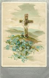 EASTER GREETINGS  brown cross with white garland, blue forget-me-nots