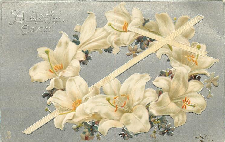 A JOYFUL EASTER white lenten roses & violet wreath around white cross