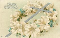 EASTER GREETINGS white lenten roses & forget-me-not wreath around cross leaning right