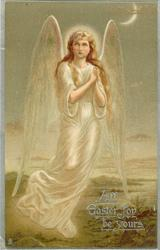 ALL EASTER JOY BE YOURS  angel in white with clasped hands, looks up & left