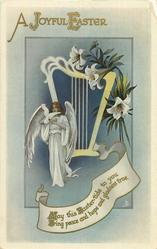 A JOYFUL EASTER  angel, dove, harp & lily