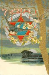 two swallows, six pointed star, tree and lake