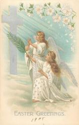 EASTER GREETINGS  two angels, one kneeling, face left