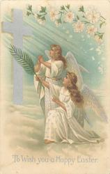 TO WISH YOU A HAPPY EASTER  two angels, one kneeling, face left