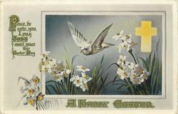 A HAPPY EASTER  dove flies over narcissi