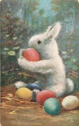 bunny holding red egg, facing left, black eye, coloured eggs on ground