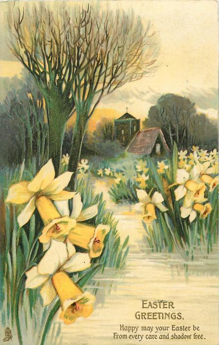 EASTER GREETINGS  daffodils, stream, trees, church