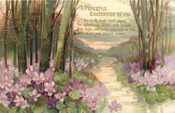 A PEACEFUL EASTERTIDE TO YOU  violets, stream, woods