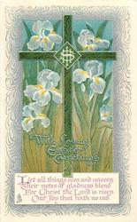WITH LOVING EASTER GREETINGS  decorated green cross, iris